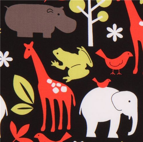 Michael Miller black-red fabric Zoology zoo animals