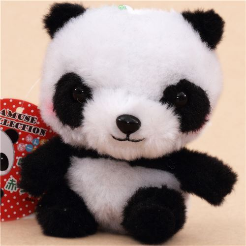 cute black and white panda plush toy from Japan