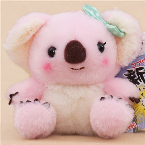 cute pink cream koala green bow plush toy from Japan