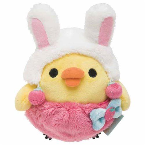 cute Kiiroitori chick in pink white rabbit costume by San-X