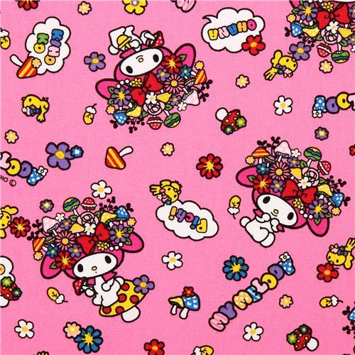 hot pink My Melody bunny flowers mushrooms Sanrio oxford fabric from Japan