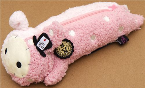 fluffy Sentimental Circus pencil case with pink rabbit