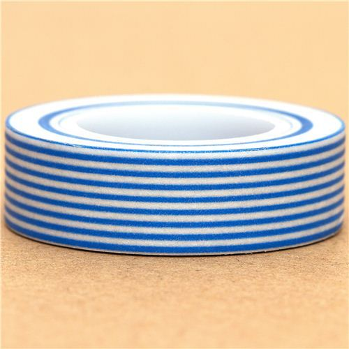 white Washi Masking Tape deco tape blue stripes