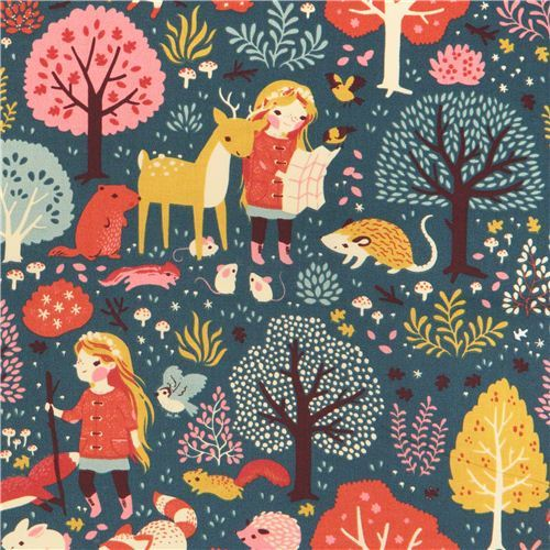 Nature Hike girl autumn forest animal birch organic fabric from the USA