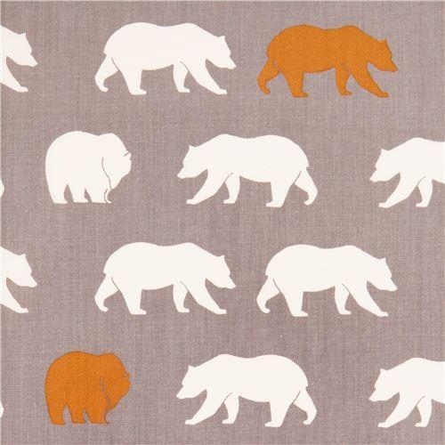 grey bear Bear Hike Shroom poplin organic fabric birch USA