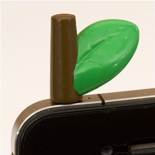 leaf on stick mobile phone plugy earphone jack accessory