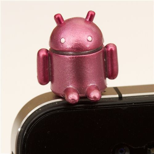 pink Android robot mobile phone plug earphone jack accessory