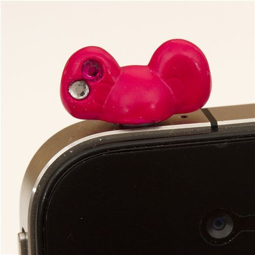 pink bow mobile phone plugy earphone jack accessory