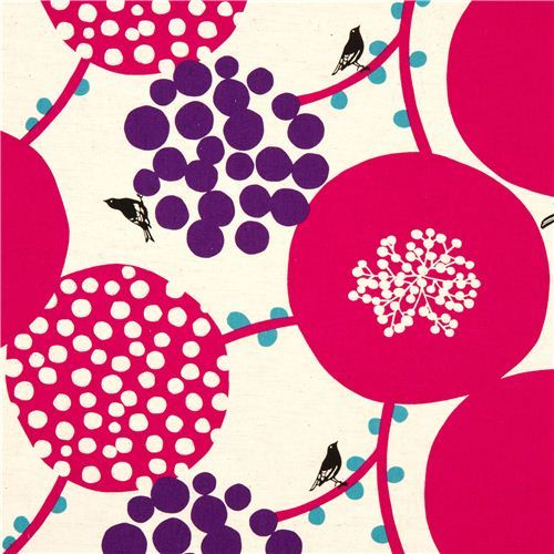 echino canvas fabric pink berries birds from Japan