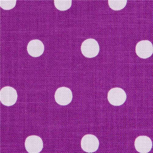 purple echino canvas fabric with lilac polka dots