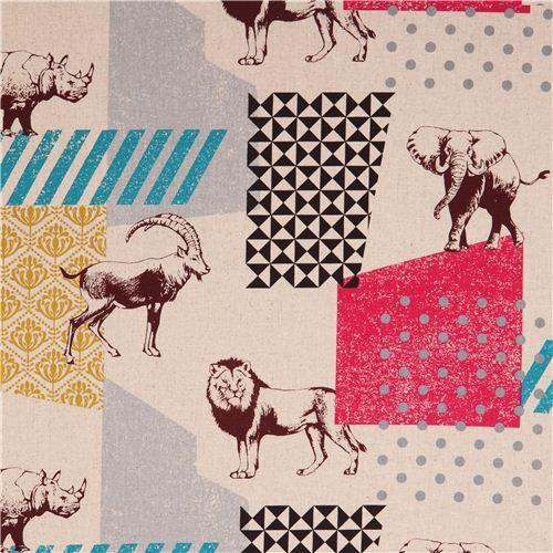 natural-colored echino zon canvas fabric pattern safari animals from Japan