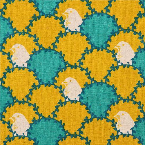 yellow echino arc canvas fabric bird wave fish scale