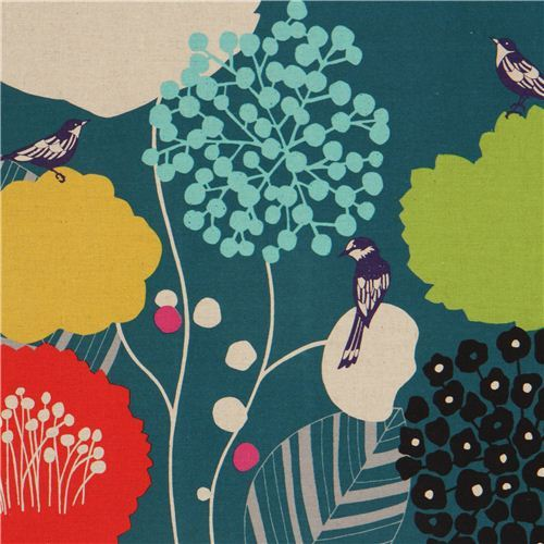teal wildflower echino canvas fabric bird flower
