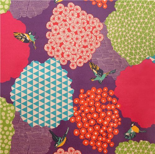 purple kalmia echino Canvas laminate fabric bird bush