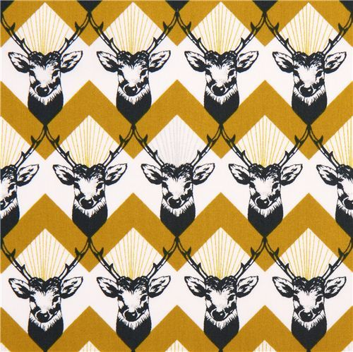 stag Chevron yellow echino Decoro cotton sateen fabric