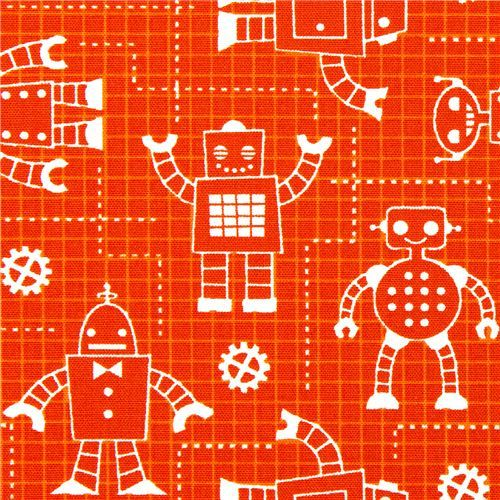 orange organic fabric with robots by Robert Kaufman
