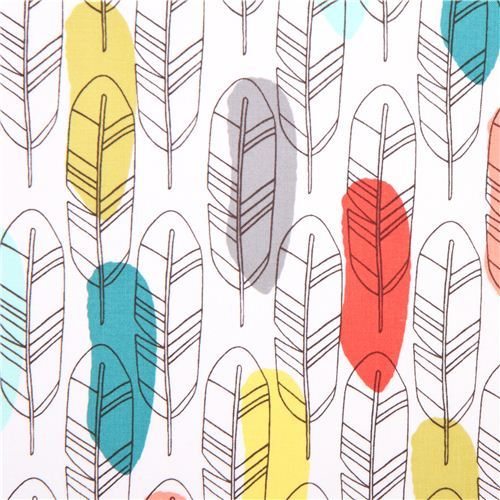 white bird feather fabric Michael Miller Birds of a Feather