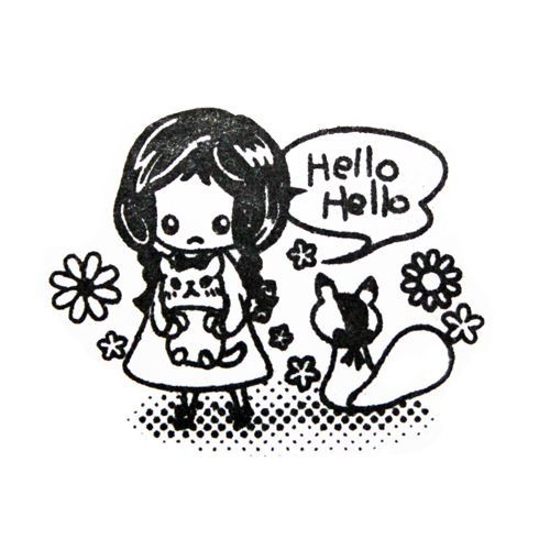 cute girl stamp with squirrel kawaii Japan