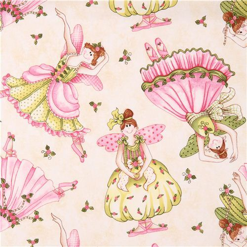 cream fairy ballet fabric Bella Ballerina Northcott Studio