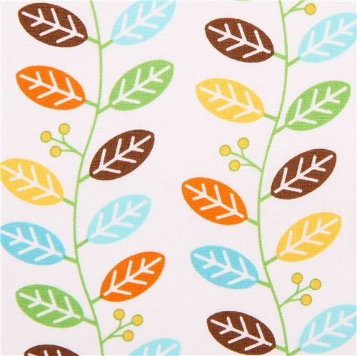 white Safari plant leaf fabric by Northcott Studio