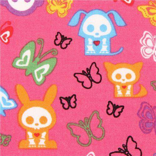 pink Skelanimals animal skeleton fabric butterfly USA