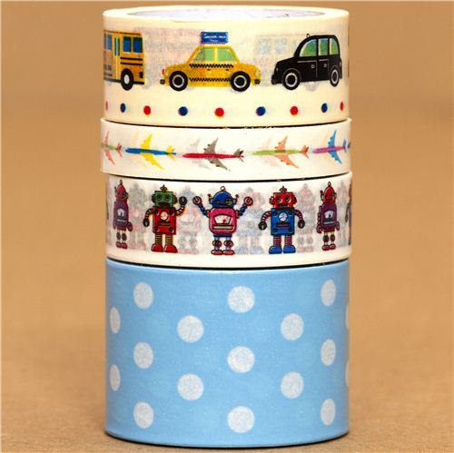Paper Tape set car airplane robot dots