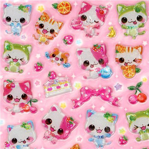 Japanese sticker cute glitter cats Q-Lia kawaii