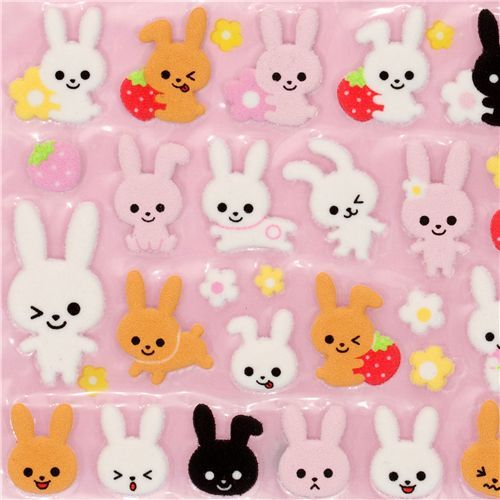 cute felt sticker with bunny strawberry flowers Japan