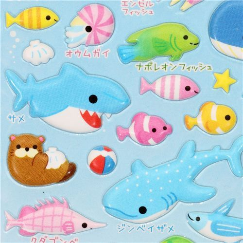 kawaii marine animals sponge sticker from Japan