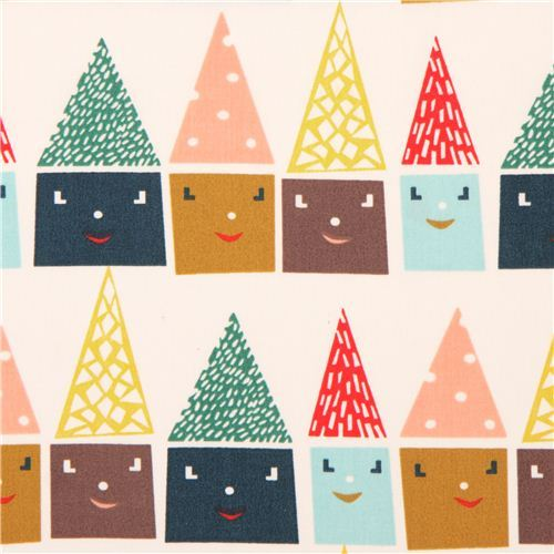 white  'Happy Houses' colourful house organic fabric birch USA