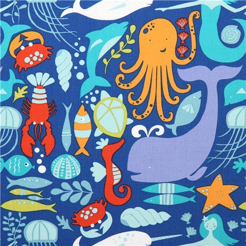 blue monaluna sea animal organic fabric sea life