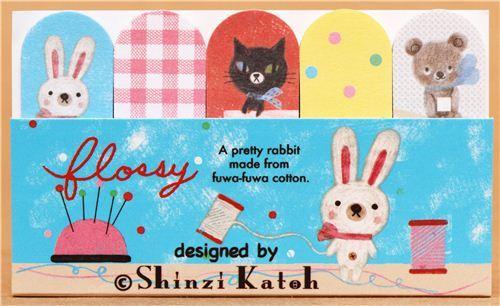 kawaii animal rabbit cat bear Post-it bookmark sticker