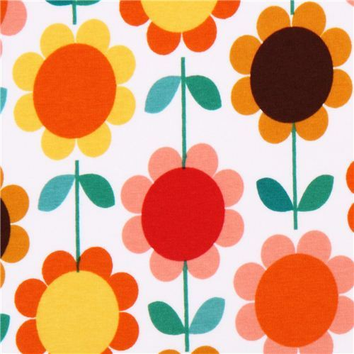 Robert Kaufman orange-yellow flower Jersey knit fabric