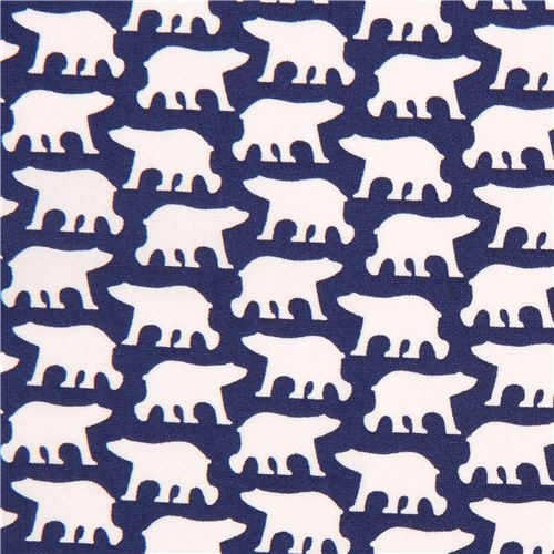 navy blue with white bear fabric by Copenhagen Print Factory