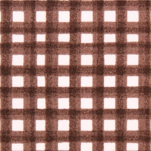 Cloud 9 brown checker gingham organic fabric Earth