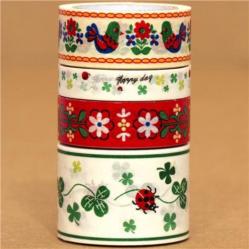 Paper Tape set flower ladybird cloverleaf