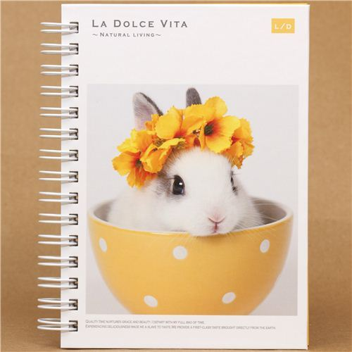 rabbit in bowl with floral wreath ring binder notebook