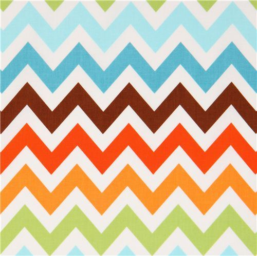 Robert Kaufman zig zag chevron fabric brown-blue Remix