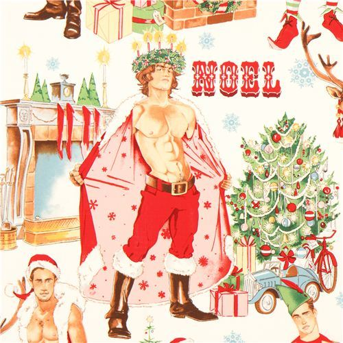 sexy Santa Claus pin up Christmas fabric Alexander Henry