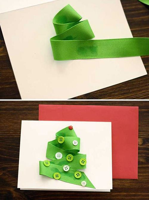 This beautiful ribbon Christmas tree card is really easy to make.