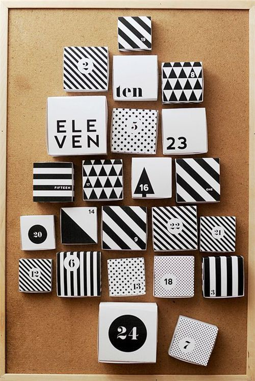 Stylish advent calendar from instantspapiers.canalblog.com made with boxes and Masking Tape