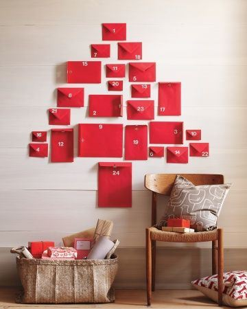 super easy red envelope advent calendar by marthastewart.com