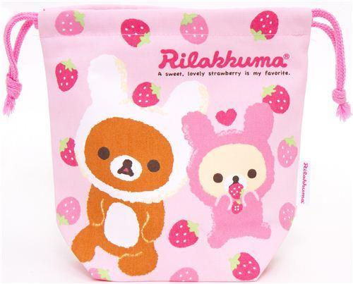 Rilakkuma as bunny bento pouch bag with strawberry