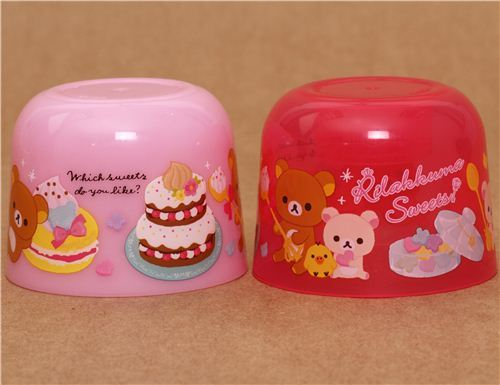 pink Rilakkuma sweets bottle cap cups kawaii