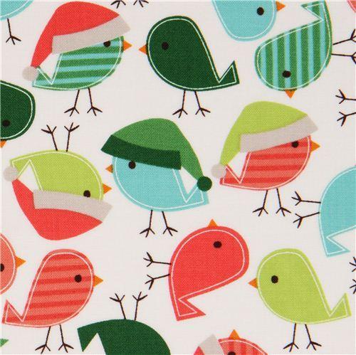 white Christmas bird fabric Robert Kaufman