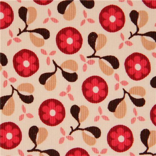 cream flower corduroy fabric pink flowers Timeless Treasures