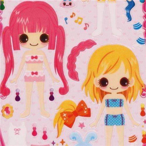 fairy & warrior girls dress up doll 3D stickers