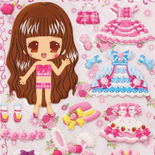 pink princess girls dress up doll puffy sponge stickers