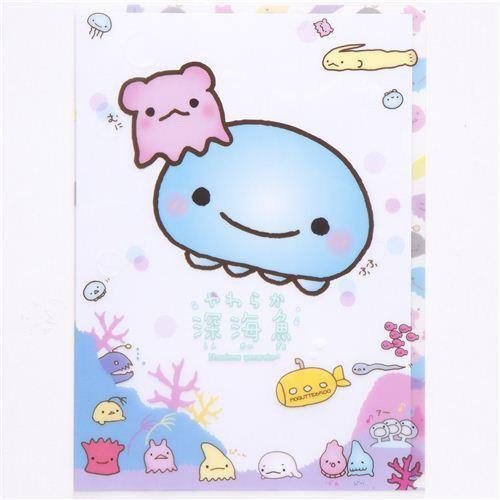 funny jellyfish & sea animals A4 plastic file folder