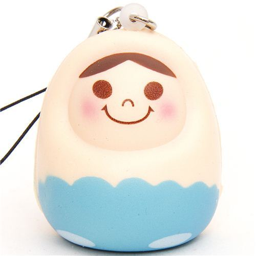 blue matryoshka nesting doll squishy cellphone charm